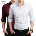 Spring brand new cotton fashion young men business casual long-sleeved shirt printing high-quality mens Korean Slim cotton shirt
