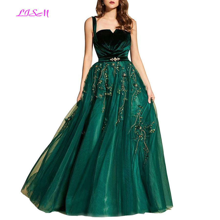 Ladies   Bridesmaid     Dress   A-Line Straps Pleated Beads Appliques Tulle Long Prom   Dresses   2019 Green Party   Dresses   robe de soiree