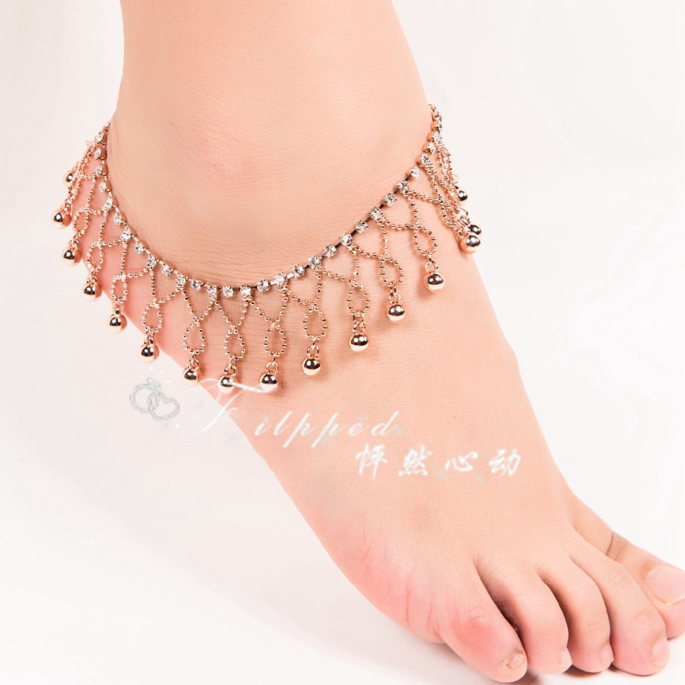 2015 New Sexy Foot Jewelry Anklet For Women Rose Gold Ankle Bracelet Bell  Jangle Anklets Belly Dance Free Shipping Ak00050in Anklets From Jewelry