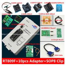 Бесплатная доставка 100% оригинальный новейший RT809F ЖК ISP программатор + 10 адаптеров + тестовый зажим sop8 IC + адаптер 1,8 в + адаптер TSSOP8/SSOP8