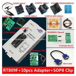Image 1 - 送料無料 100% origanil 最新 RT809F 液晶 isp プログラマ + 10 アダプタ + sop8 IC テストクリップ + 1.8V アダプタ + TSSOP8/SSOP8 アダプタ