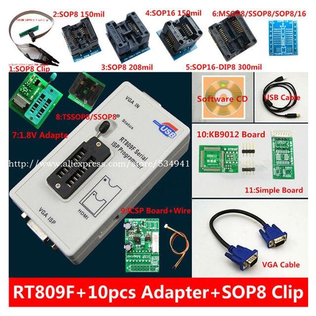 送料無料 100% origanil 最新 RT809F 液晶 isp プログラマ + 10 アダプタ + sop8 IC テストクリップ + 1.8V アダプタ + TSSOP8/SSOP8 アダプタ