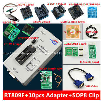 free shipping 100% origanil Newest RT809F LCD ISP programmer+ 10 adapters +sop8 IC test clip + 1.8V Adapter+TSSOP8/SSOP8 Adapter - DISCOUNT ITEM  9 OFF Electronic Components & Supplies