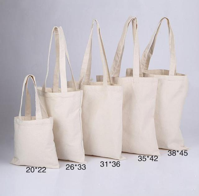 300pcs Lot White Canvas Plain Ping Bag Foldable Reusable Grocery Bags Cotton Fabric Eco Tote
