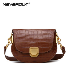 NEVEROUT Retro Saddle Bags Genuine Leather Shoulder/Crossbody/Messenger for Women Real Bag With Wide Shoulder Strap