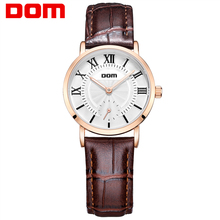 DOM 2016 Couple Waterproof Casual Watch Fashion Brand Men Women Leather Watch Fashion Montre Femme De