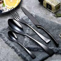24 pièces/ensemble en acier inoxydable noir couverts ensemble 20 pièces/ensemble vaisselle vaisselle argenterie ensembles dîner couteau et fourchette livraison directe