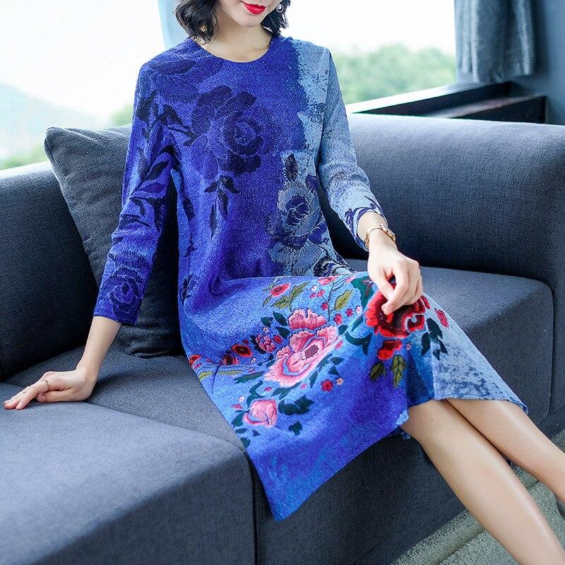 Bleu Taille Grande Lâche Encre chinois Robes Plissée Imprimée De Rétro Femmes 6qwv0g7