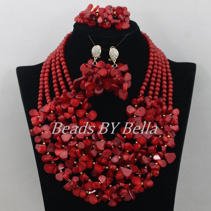 Fantastic Coral Nigerian Wedding African Beads Jewelry Set Red Coral Beads Necklace Bridal Jewelry Sets Free Shipping ABF616Fantastic Coral Nigerian Wedding African Beads Jewelry Set Red Coral Beads Necklace Bridal Jewelry Sets Free Shipping ABF616