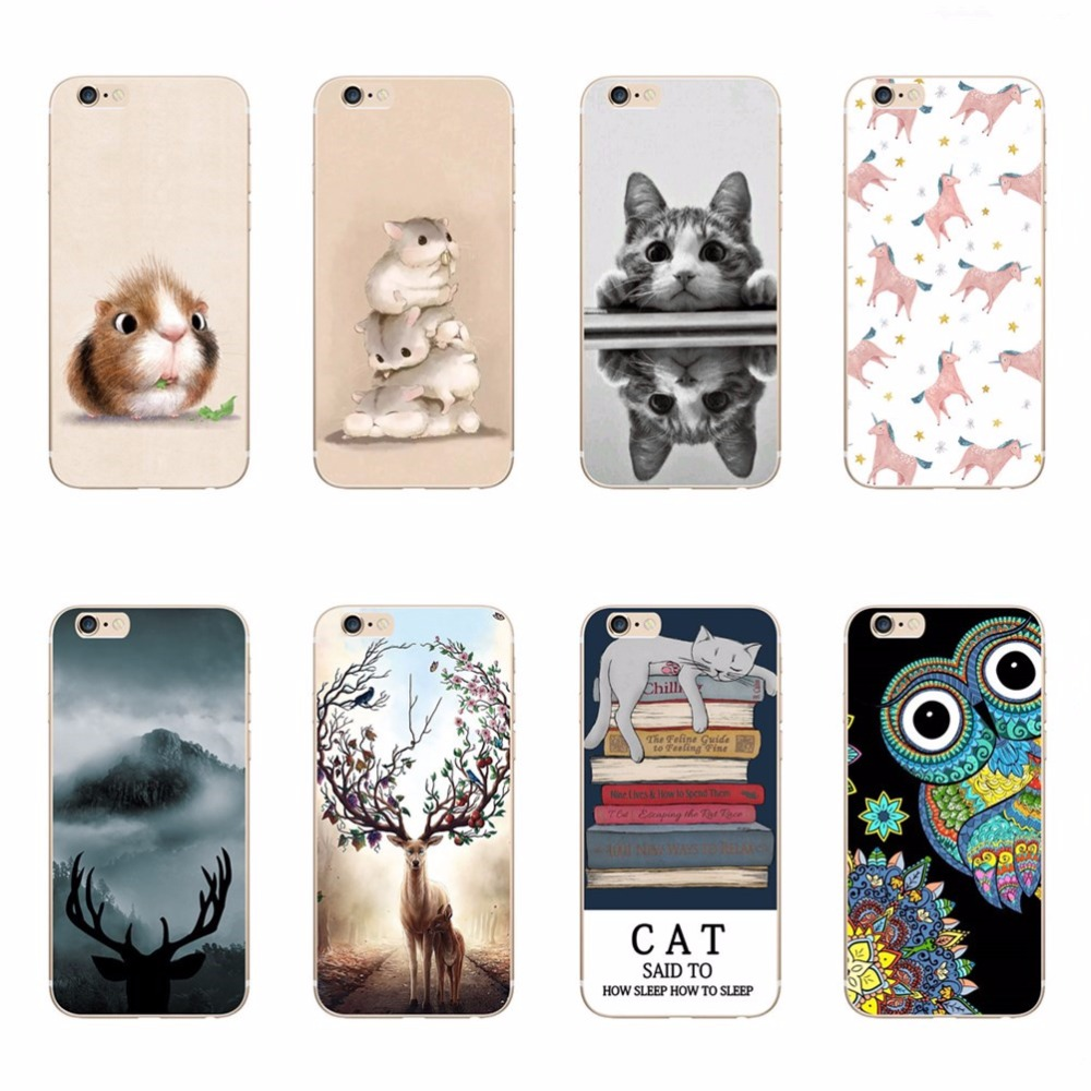 online get cheap iphone  cover designer cat aliexpresscom  - for iphone  s phone case cute cat owl sika dee unicorn bear soft siliconecovers