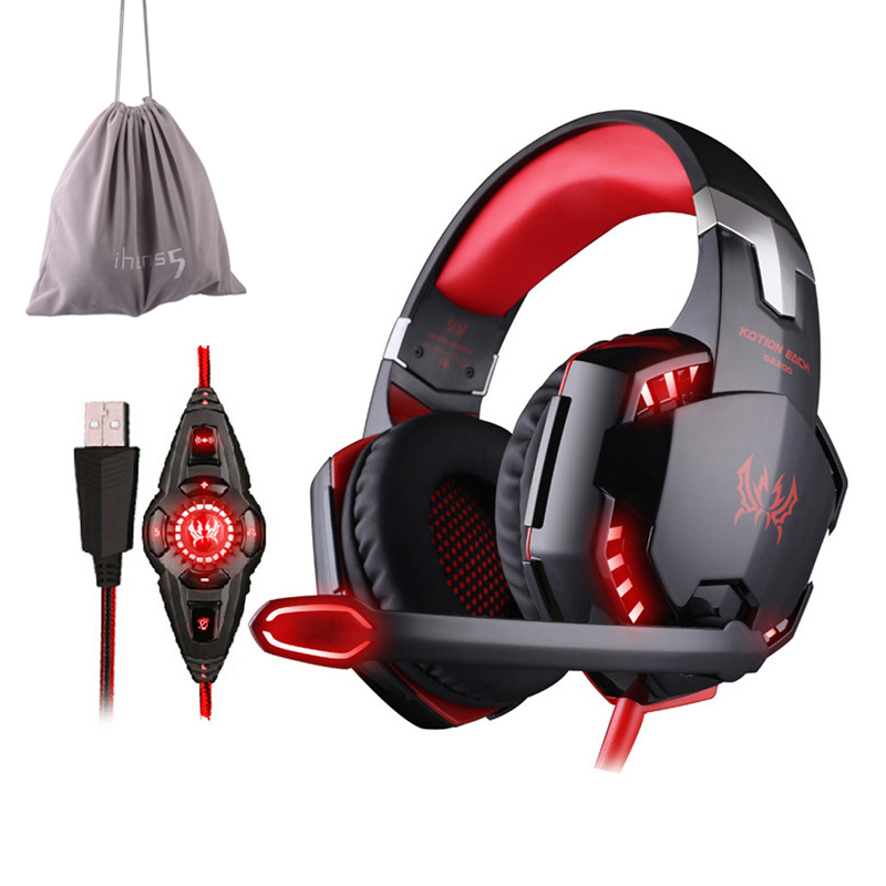 KOTION EACH G2200 USB 7.1 Surround Sound Headphone Vibration Computer Gaming Headset Earphone Headband With Mic For PC LOL Game