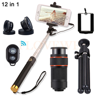 New Telescopic Lens Kit 8X Telephoto Zoom Lenses Microscope Fisheye Macro Wide Angle Lentes For Xiaomi