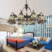 Chandelier European pastoral Mediterranean 8 head creative personality living room lighting bedroom dining room lighting