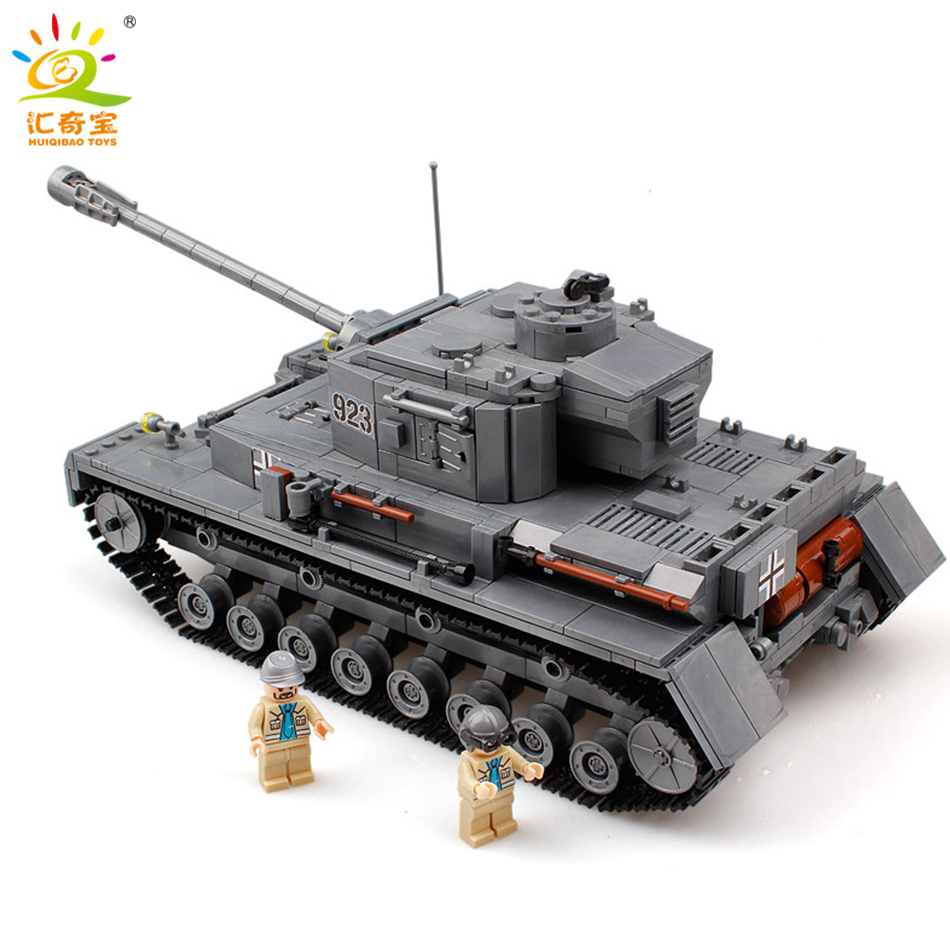 Military 923 PZKPFW-IV War Tank Model With Germany Soldiers Building Blocks Sets Compatible Legoed Army ww2 Toys For Children mylb large panzer iv tank 1193pcs building blocks military army constructor set educational toys for children dropshipping
