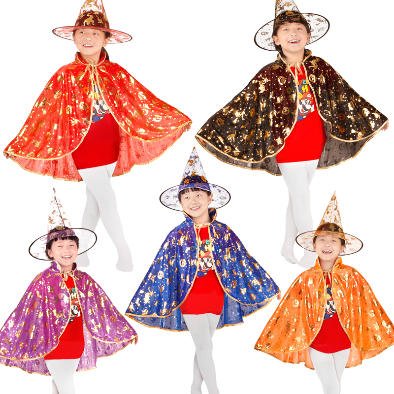 Children Girl Halloween Pumpkin Witch Cloak Stage Performance Cloak Cape Hat Costume Accessories Masquerade Party Supplies dress