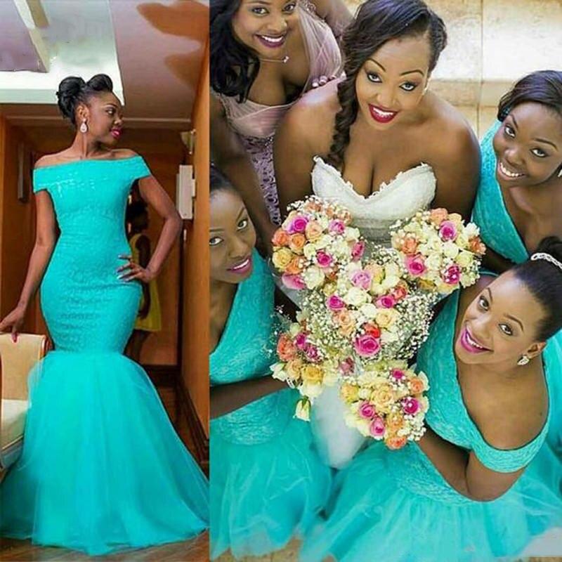 Off Épaule Sirène Teal Bleu Dentelle Longues robes de demoiselles d'honneur 2019 Dentelle Satin robes de bal robes de mariée de fête