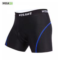 WOSAWE Mens Womens Cycling Shorts Padded Gel Underwear Black Spandex Mountain Bike Bicycle Tight Underpant Cycling