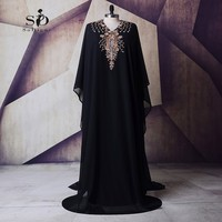 Long Sleeve Muslim Dress Plus Size Evening Gowns For Women Black Crystal Arabic Long Evening Dresses