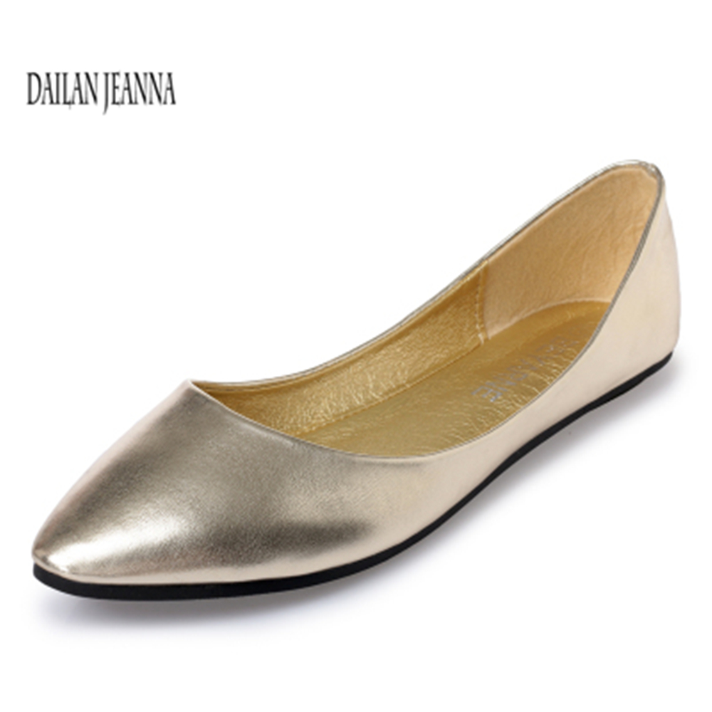 2018 summer silver flat shoes with shallow flat shoes commuter simple shoes women's shoes small size 33 43