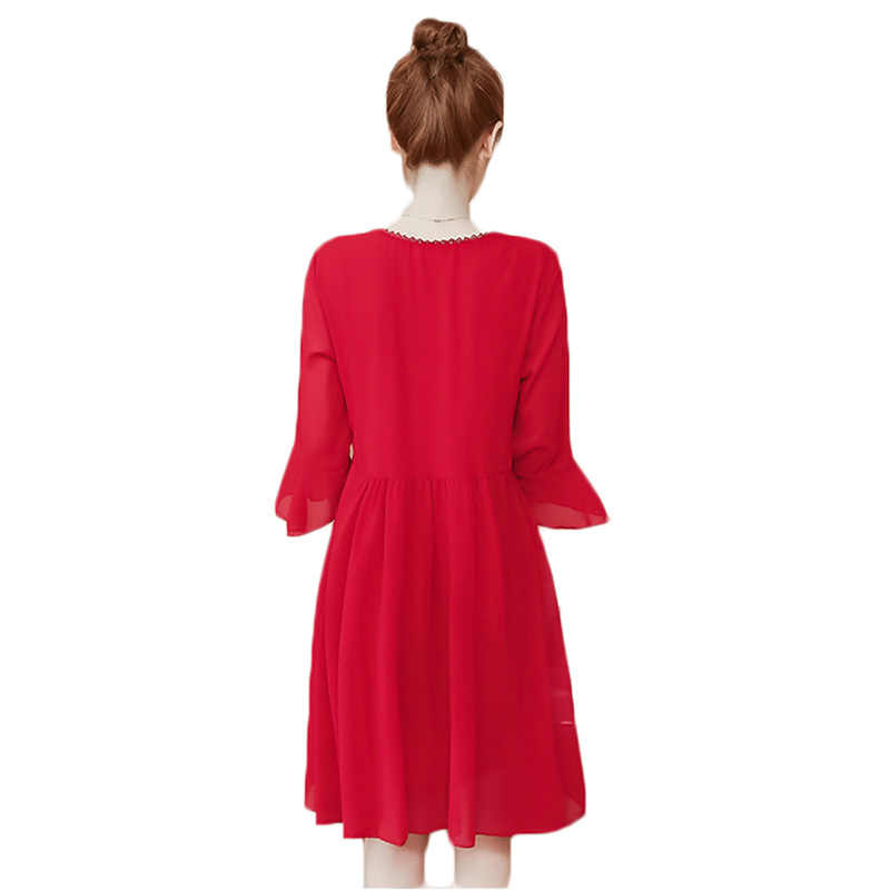 2018 new women fashion V-neck loose summer dress cover belly large size women's  black red chiffon dress female over size L-5XL