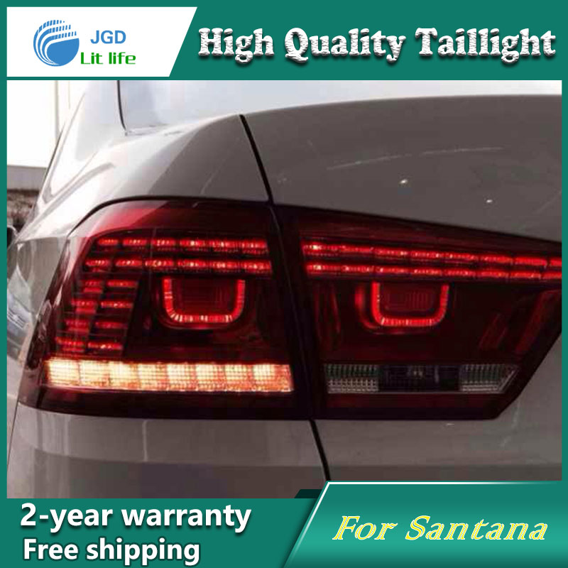 Car Styling Tail Lamp for VW Santana 2013 2014 Tail Lights LED Tail Light Rear Lamp LED DRL+Brake+Park+Signal Stop Lamp jgd brand new styling for nissan s15 tail lights 1999 2014 led tail light rear lamp led drl singal car lights