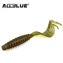 ALLBLUE Creek Single Tail Soft Bait 3.2g/82mm 8pcs/lot Biforked Grubs Silicone Fishing Lures isca artificial(China)