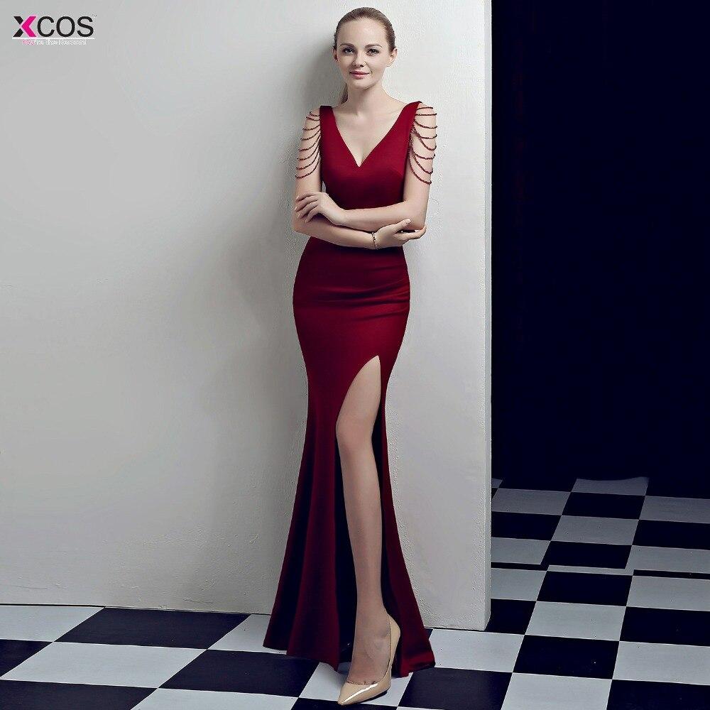 cb1922b1f9e0e 2019 Burgundy Evening Dresses Long Elegant Formal Dress Elastic Satin High  Slit Evening Gown V Neck robe longue