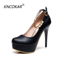 KNCOKAR 2018 summer new product round head waterproof platform high heeled shoes, sexy bright ladies shoes