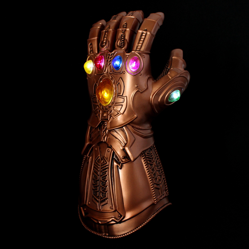 Adult Kids Avengers Infinity War Thanos Infinity Gauntlet LED Light PVC Gloves for Halloween Party Event Props Decoration