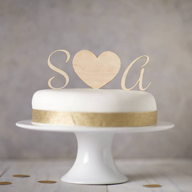 Personalised Wooden Monogram Cake Toppers Custom Wedding Cake Topper     Personalised Wooden Monogram Cake Toppers Custom Wedding Cake Topper Wooden  Heart Cake Birthday Party Decorations