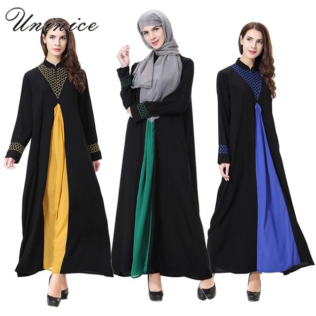 US $23 69 40% OFF|Muslim Dress Long Sleeve Islamic Abaya Embroidery Dubai  Ramadan Dresses Robe Kaftan Islam Turkey Djellaba Women's Maxi Abaya-in