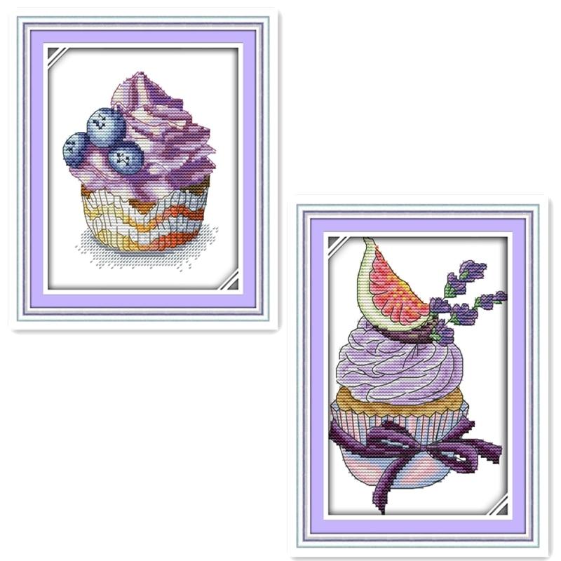 Teekanne Dessert kuchen bunte blumen malerei Gezählt Druck auf ...