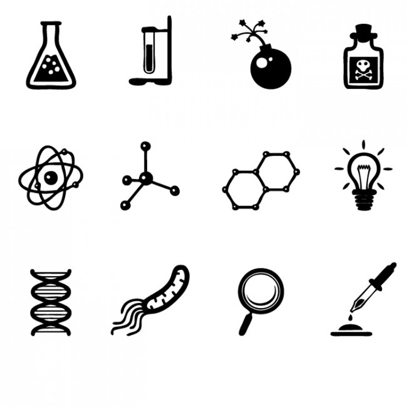 Assorted Science Lab Symbols Wall Sticker Science Wall Art