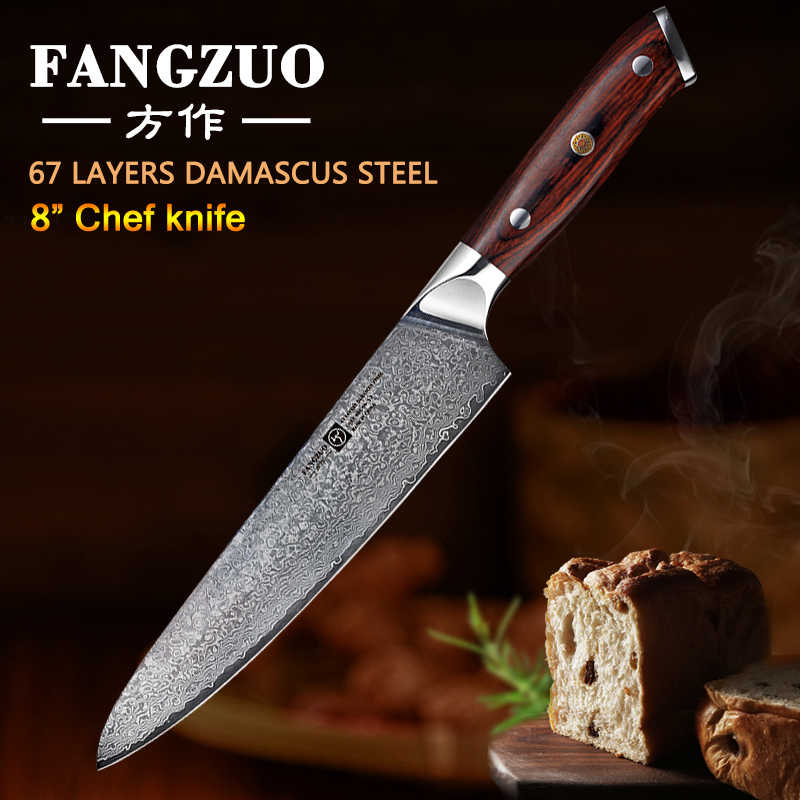 FANGZUO 8 inch kitchen knives Stainless steel head handle VG10 Japanese 67 layer Damascus Steel Chef Knife Cleaver Cooking knife