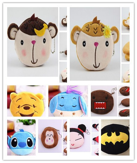 10PCS Design MIX Cartoon Plush HAND Coin Purse & Wallet Pouch Bag Case ; Pendant Chain Purse Bag Case Pouch BAG Wallet Handbag
