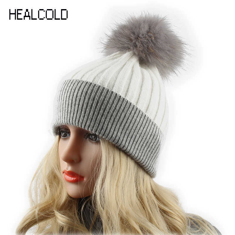 802c64f95c6 Winter Wool Hats For Women Fur Pompom Hat Ladies Real Raccoon Fur Ball  Knitted Cashmere Beanies