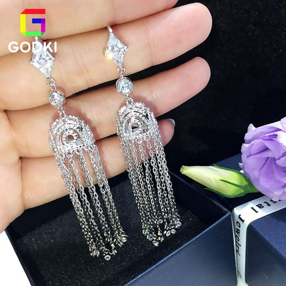 Long Tassel LUXURY AAA Cubic Zircon Women Engagement Silver Earrings Studs Jewelry Party Gift