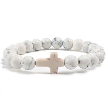 Trendy Jesus Cross Charm Blue Turquoises Men Bracelet Black Lava Stone 8mm White Beads Bracelets Bangles for Women Yoga Jewelry 3
