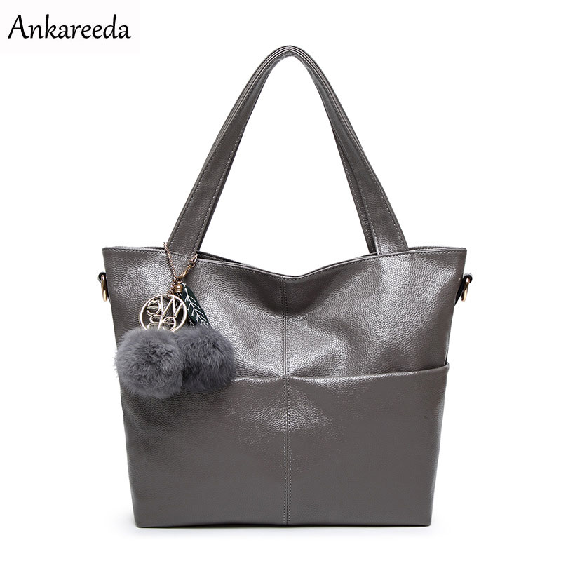 Ankareeda High Quality PU Leather Women Messenger Bag Big Shoulder Bag Large Capacity Totes Famous Brand Fashion New Handbags
