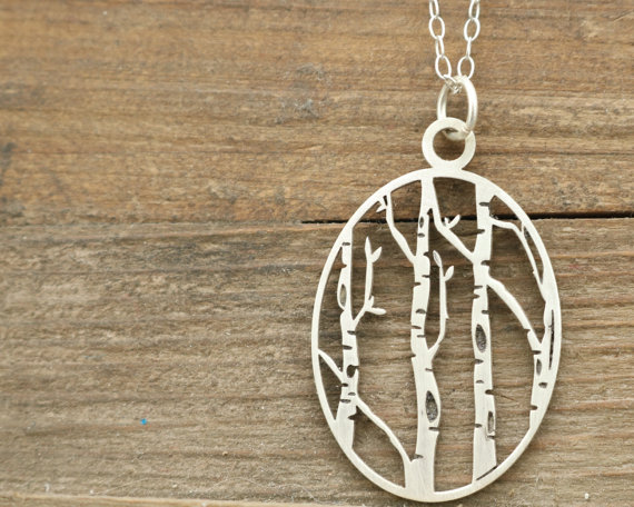 Silver Necklace Birch Tree Neck