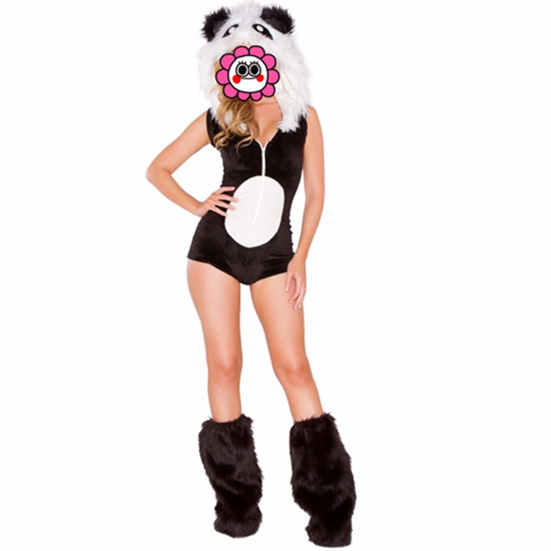Abbille Adult Animal Panda Cosplay Costume Black Fur Halloween Carnival Costumes for Women Fashion Girls Anime Fancy Party Dress