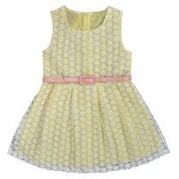 Girl Dress Summer Children Sleeveless Belt With White Lace Girls Princess Dresses Yellow Pink Kids Baby