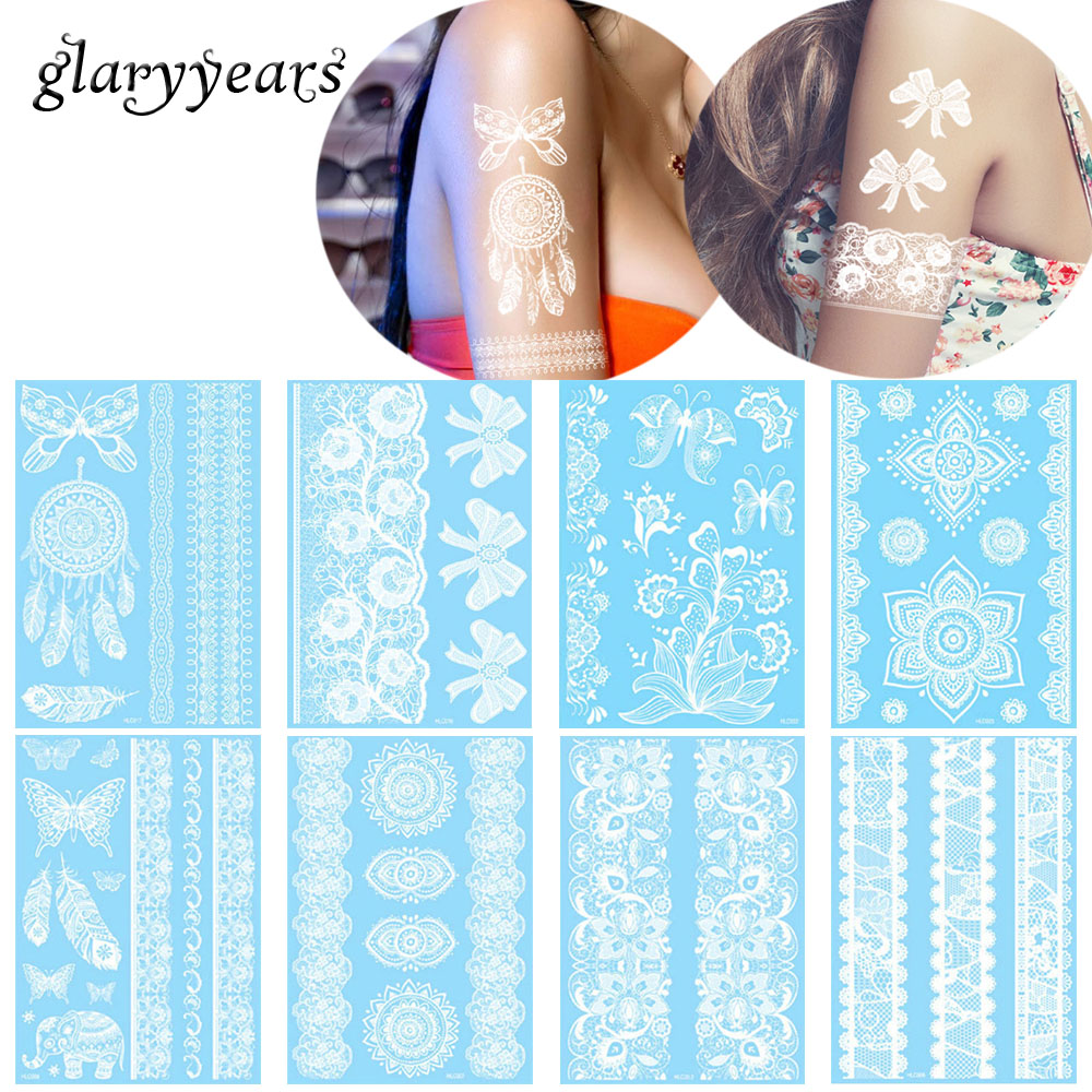 glaryyears 27 Designs 1 Sheet Temporary White Flower Lace WHLC Tattoo Sticker Hand Leg Body Art Tattoo for Women Fashion Sticker