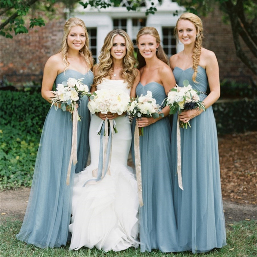 Elegant Tulle Bridesmaid Dresses Strapless A Line Long