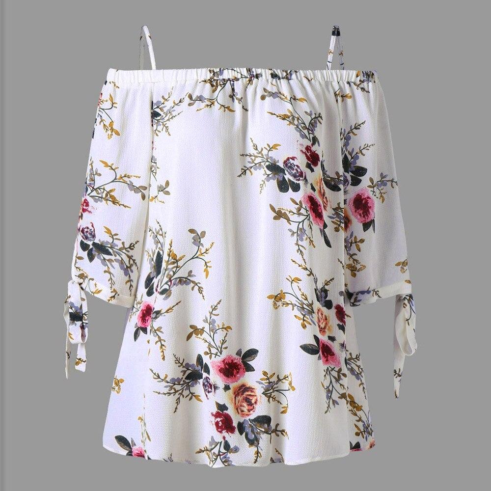 XL-5XL Plus Size Fashion Women Strap Chiffon Cold Shoulder Lady Loose Shirt Tops Casual Short Sleeve Blouse Summer Female Blusa