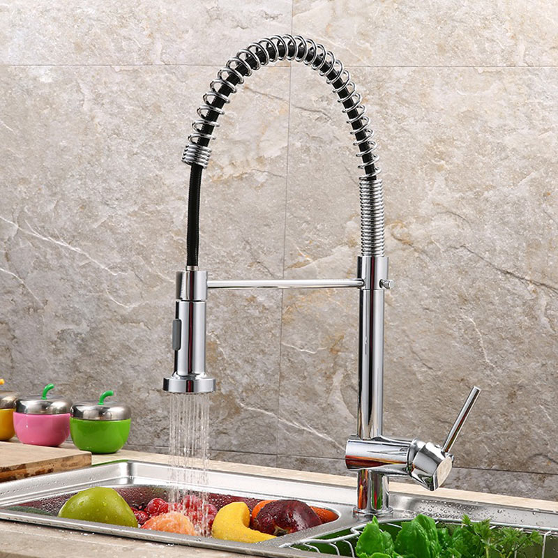 kitchen faucet all copper smoke pull out tap Hot and cold mixer kitchen sink faucet 360 degree single hole deck mounted pull the kitchen faucet hot and cold all copper single handle double control rotary groove faucet faucet ceramic spool lu50511