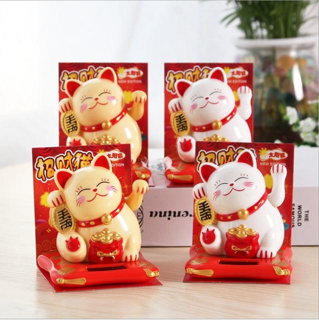 Fashion Black/White Solar Powered Maneki Neko Welcoming Fortune Cat Lucky For Home Car Hotel Restaurant Decor Craft
