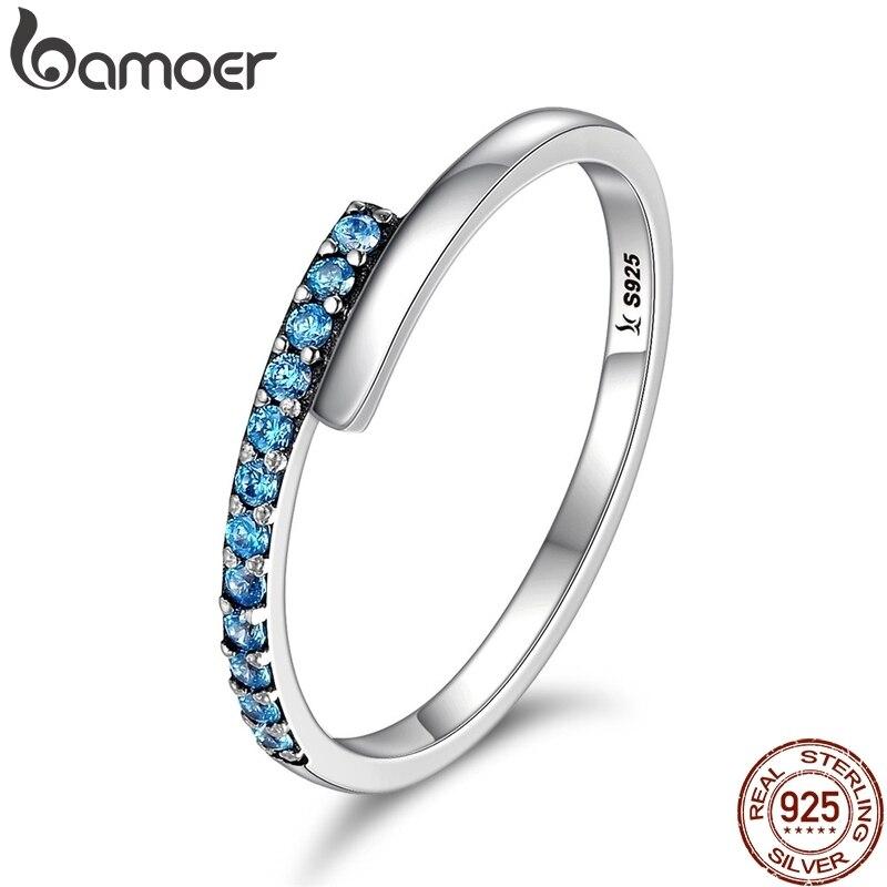 BAMOER Genuine 100% 925 Sterling Silver Geometric Melody Blue Sparking CZ Finger Rings