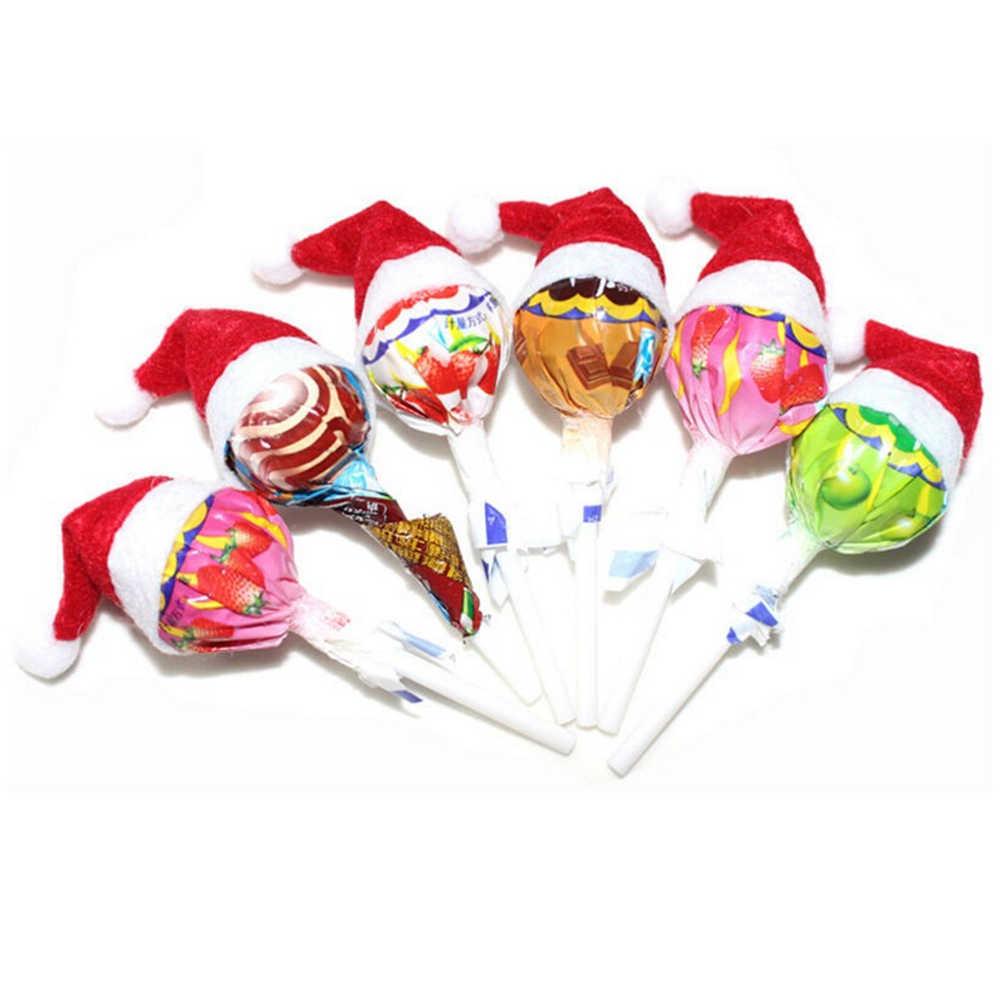 6 Pcs/30 Pcs Mini Topi Santa Claus Natal Liburan Lollipop Top Topper Cover Festival Dekorasi Pesta ACC dropshipping