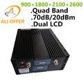 70дб 20dBm Quad Band Мобильный Сотовый Сигнал Повторителя GSM 900 DCS 1800 3 Г 2100 4 Г 2600 МГц, ЖК-Дисплей Quad Band Booster усилитель